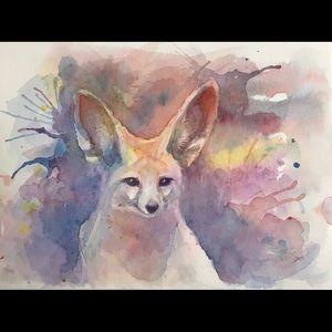 Original painting fennec Fox Wildlife Artwork USA